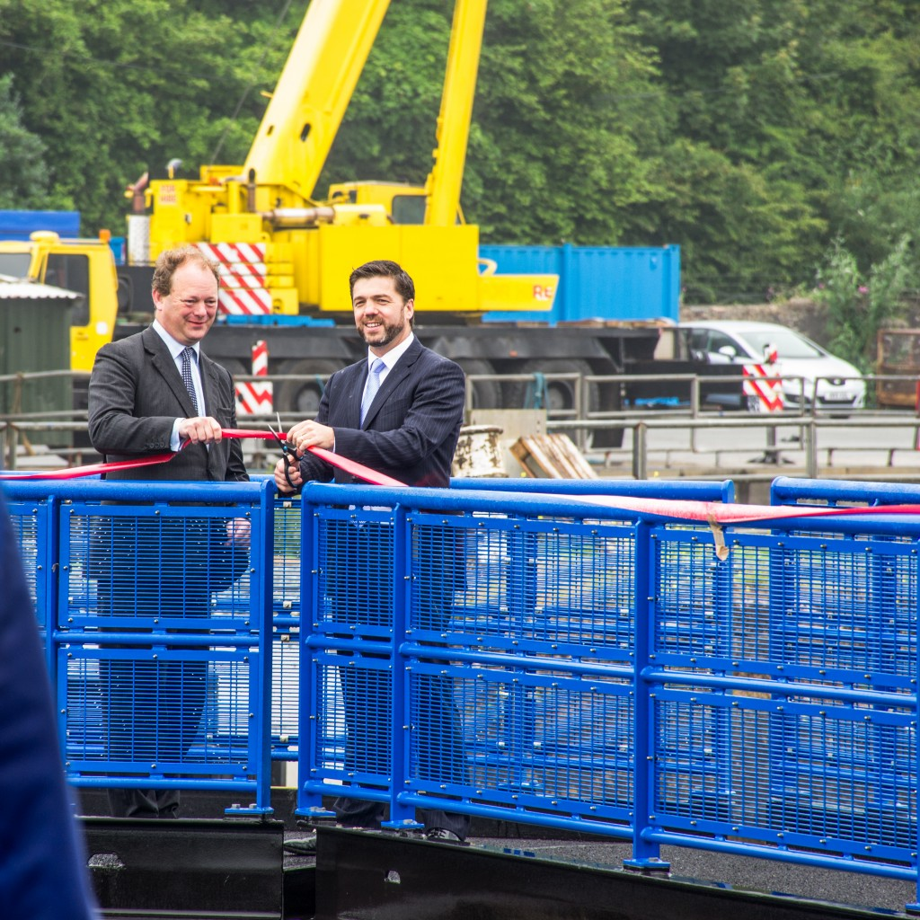 Alec Don and Stephen Crabb officially open the new lock gates