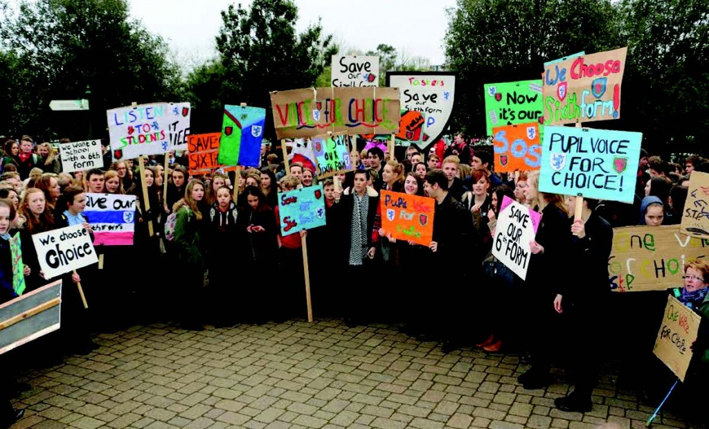 Schools protest at County Hall last year