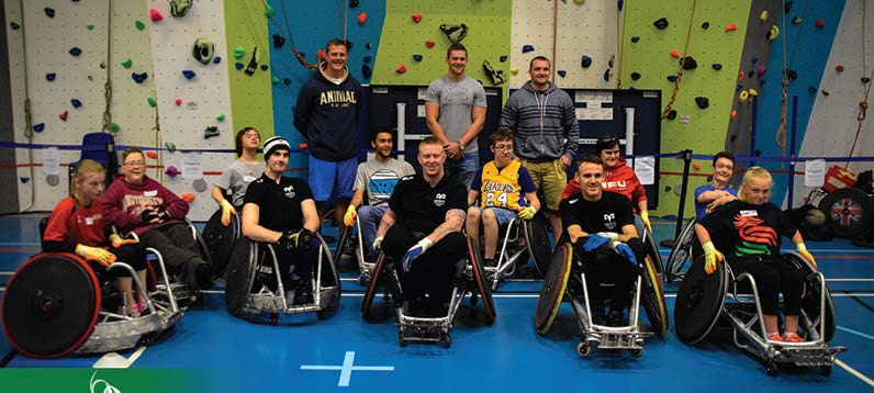 Rugby stars: Dan Lydiate, Dafydd Jones and Ken Owens with participants