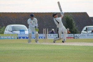Out: Gregg Miller is bowled as the momentum swung in Whitland's favour