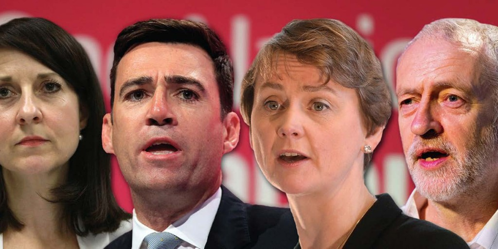 Labour leadership hopefuls: L-R (in picture) Liz Kendall, Andy Burnham, Yvette Cooper, and Jeremy Corbyn.