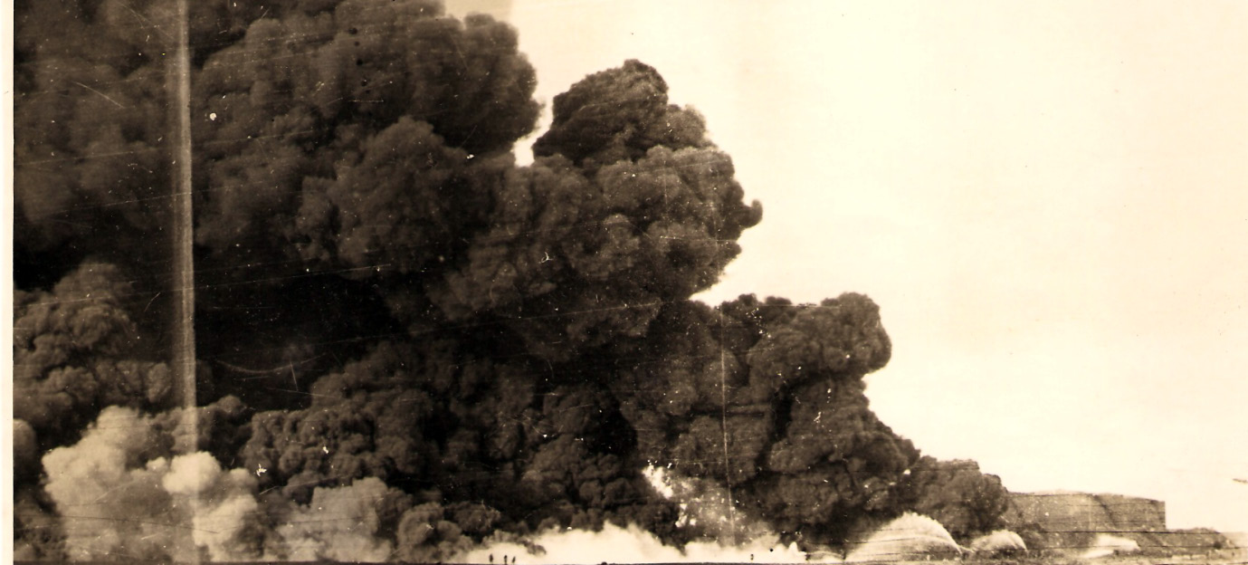 What the firemen had to tackle: One of many photographs of the Llanreath Oil Tanks Fire in the Pembroke Dock Archive