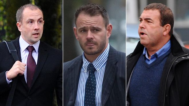 On trial: Officers Christopher Evans, Michael Stokes and Stephen Phillips all deny the charge