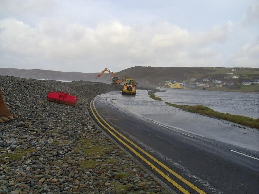 Newgale's shingle bank was affected during recent storms.