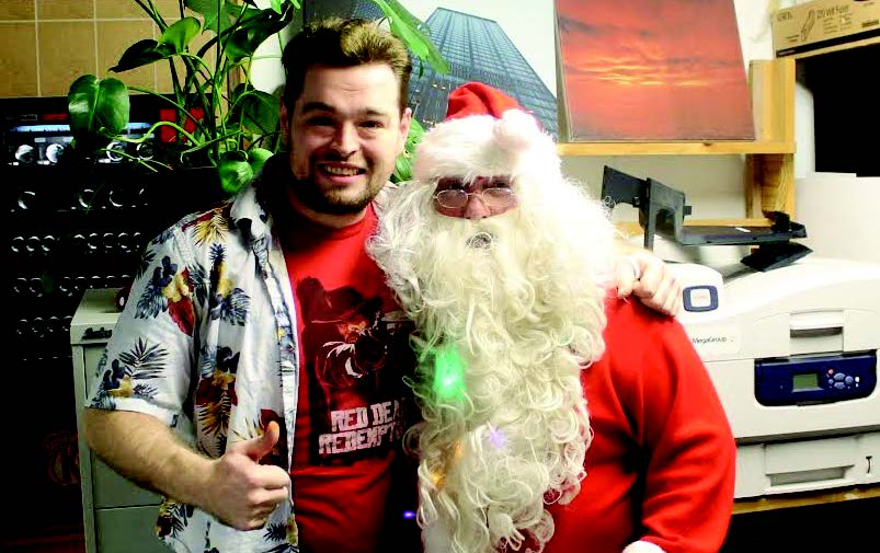 Santa comes to town: Chris with Andy Chanfler