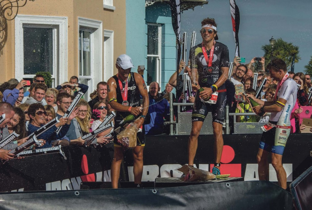 Ironman: Winners celebrate at the 2015 Ironman Wales event held in Tenby