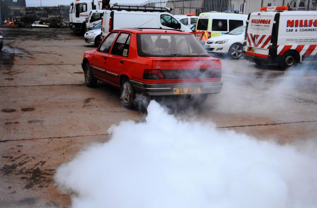 "Simon Chaplin, 62, flicked a switch on the dashboard of his red Peugeot 309 and ""colossal"" amounts of smoke came out of the exhaust pipe."
