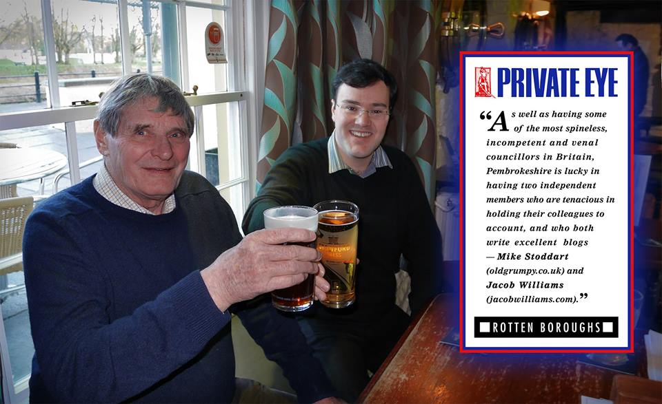 Cllrs Mike Stoddart and Jacob Williams celebrate with a pint