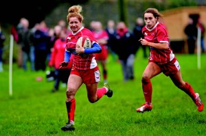 Megan Davies: Whitland winger runs in the opening try (Pic. Riley Sports)