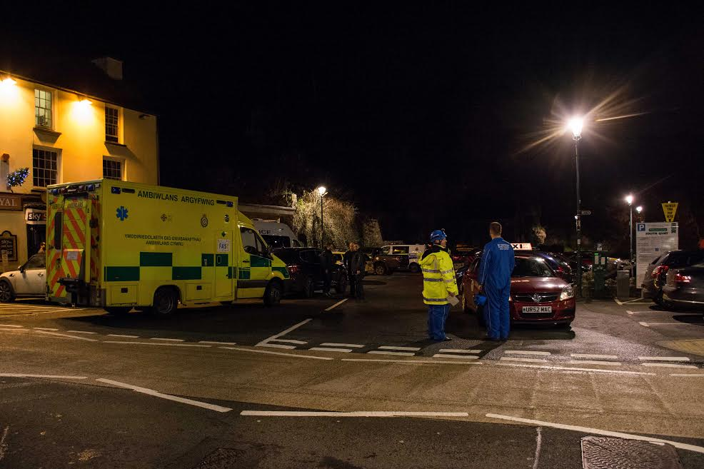 An ambulance on stand by at the scene (Pic: M Hillen/Herald)