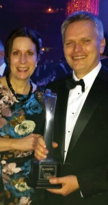 Owen Jones: With his wife Amanda, with the Autosport 'Racing Car of the Year 2015' Trophy at the Grosvenor House Hotel, Park Lane
