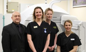 The radiography team: With the new imaging machine
