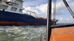 St Davids RNLI lifeboat: Approaching the tanker