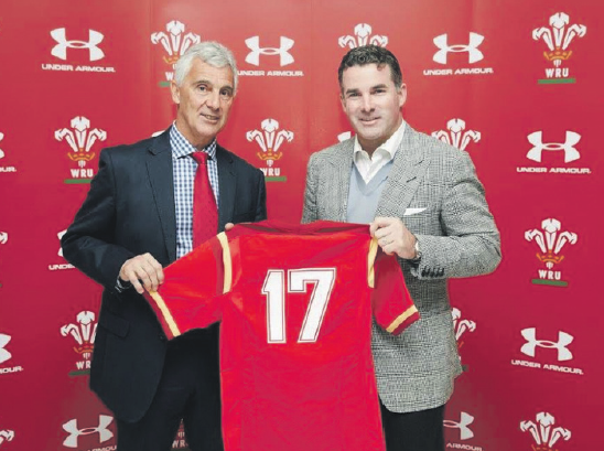 WRU chairman Gareth Davies: With Under Armour CEO and founder Kevin Plank