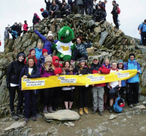 Snowdon: The first of the Cystic Fibrosis supporters to arrive at the summit during last year's climb