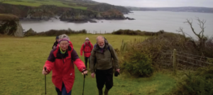 Last mile: The walkers head back to the start