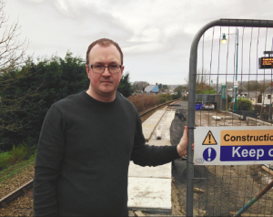 Progress: Marc Tierney pictured at Pembroke Railway Station this week