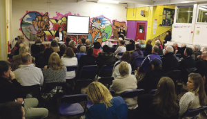 Packed meeting: Residents responded to leaflets to attend the event to discuss funding