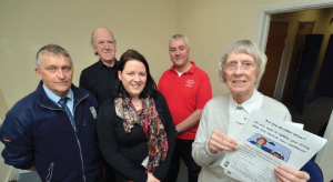 (L-R) Councillor Rob Lewis, ADI Mike Hughes, PCC Road Safety Officer Kirstie-Anne Donoghue and ADI Mark Jempson: With Dorothy Hill, who won a £50 cash prize after filling in a questionnaire