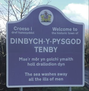 New sign: Euripides welcomes visitors to Tenby