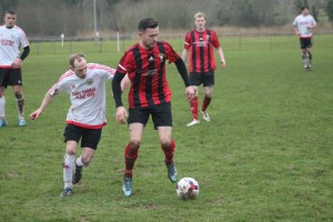 Hold up: Johnny Horgan holds the ball up from a Clarbeston Road player