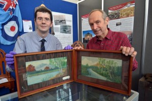 Aled Lewis and Jeff James: With the two German PoW paintings at the Pembroke Dock Heritage Centre