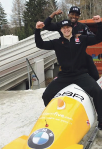 Bruce Tasker and Joel Fearon: Celebrating their top four finish in Igls (Pic. Charlie Booker)