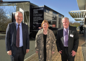 Export roadshow: Councillor Keith Lewis (right) with Lord Maude and Edwina Hart outside the roadshow.
