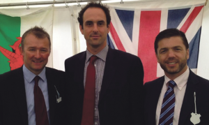 Tory boys: MPs Simon Hart and Stephen Crabb pictured with Police Commissioner Chris Salmon