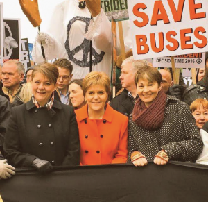 Leanne Wood: With NIcola Sturgeon and Caroline Lucas at Saturday's 'Stop Trident' march