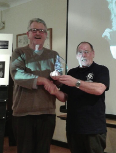 Mike Cullis: Receiving his prize from Dennis Russ
