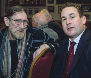 Dan Lodge talking to Paul Rutherford bedroom tax campaigner (pic: Mike Hillen)