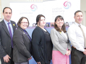 From L to R: Dyfed-Powys Police and Crime Commissioner Christopher Salmon, Gwalia's Lyndsay Bone and Ceri Page, Ella Rabaiotti of the Wales Community Rehabilitation Company and Sgt Darren Moore, of Dyfed-Powys Police
