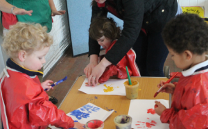 Lots of fun: The children take part in arts and crafts