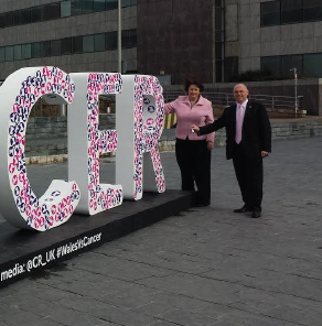 Standing up to cancer: AMs Paul Davies and Angela Burns at the Senedd
