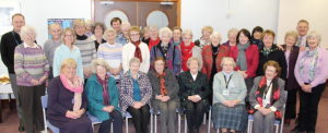 Volunteers thanked: Health Board Chair Bernadine Rees (Front left) with volunteers at Withybush Hospital