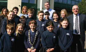 Pupils from St Florence Church in Wales VC School pictured with (left to right): Mrs Pinero and Mrs Julie Davies, Cllr Kidney, Joe Welch and Cllr Wynne Evans.