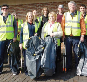 Litter Pick: A small group gathered, pictured outside Pembroke Dock McDonalds, to help clean the town