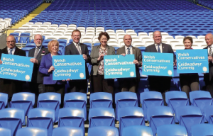 Kick-off: Paul Davies and Angela Burns are pictured with Welsh Conservative colleagues at the Assembly Election launch event at Cardiff City Stadium