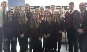 History Club: AM Paul Davies is pictured with Mr Aled Rumble and students of the History Club