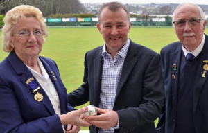 Silver Jack: The President of Pembroke Dock Bowling Club, Mrs Di Davies presents the Silver Jack to Mr Simon Hart MP at the opening of the 2016 season with Mr. Alan Yea (Club Chairman)
