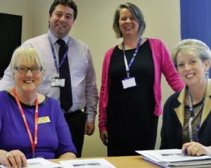 Classic but contemporary: Project collaboration between Narberth Rotary Club's Mary Adams, College Principal Sharron Lusher, Head of Faculty Arwyn Williams and Curriculum Area Manager Cath Brooks