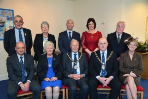 The new Chairman, Councillor Tony Brinsden, is pictured seated (centre) with Mrs Brinsden, following the Council's annual meeting: Flanked by Ian Westley; Paul Harries, Sharron Lusher; Councillor Wynne Evans; Gwyneth Johns; Jamie Adams; Rose Harries and Councillor Keith Lewis.
