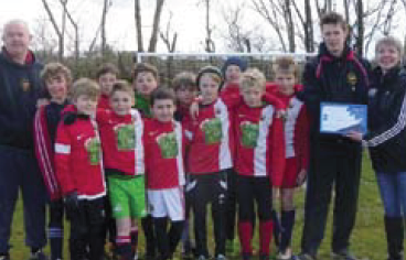 Clarbeston Road AFC under 10s team: With Huw Bevan, coach at Clarbeston Road, Daniel Jones the insport lead officer for Clarbeston Road, and Angela Miles