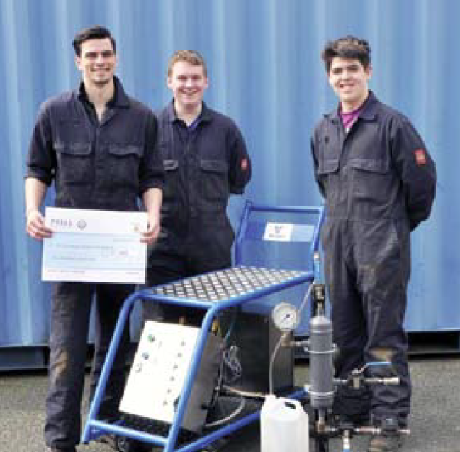 The winners and their machine: James Griffiths, Thomas Preece and Jordan Gough