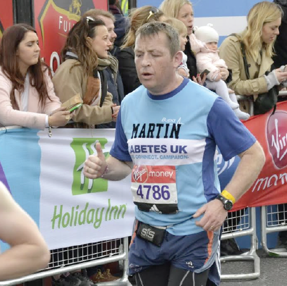 Martin Bowen: Took part in the gruelling 26 mile run for Diabetes UK