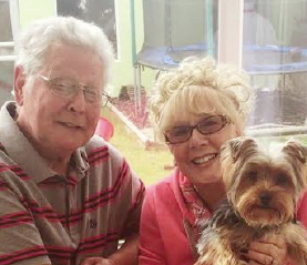 Owners Graham and Jackie Round: with lucky Yorkie, Ritchie