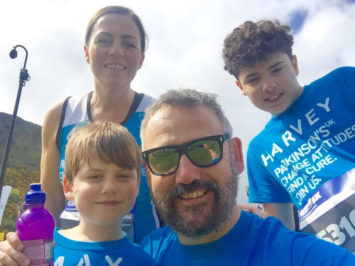 Team Pricey: Gary, Sara and their two sons Harvey and Max ran the Edinburgh Marathon, raising over £2000 for Parkinson's UK