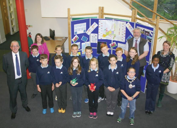 Pictured are pupils from Hook CP School: With (L to R) Cllr Wynne Evans, Headteacher Louise John, Cllr Michael John, and Governor Zoe Monk