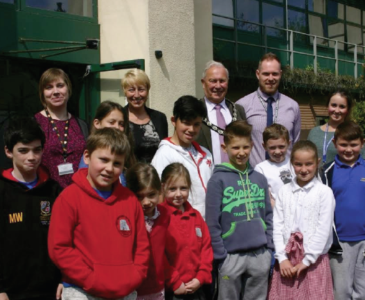 Pembrokeshire County Council Chairman, Councillor Tony Brinsden: Councillor Alison Lee, Mr Leigh Phillips, Miss J Junggeburth and pupils from Pembroke Dock Community School are pictured following their visit to County Hall